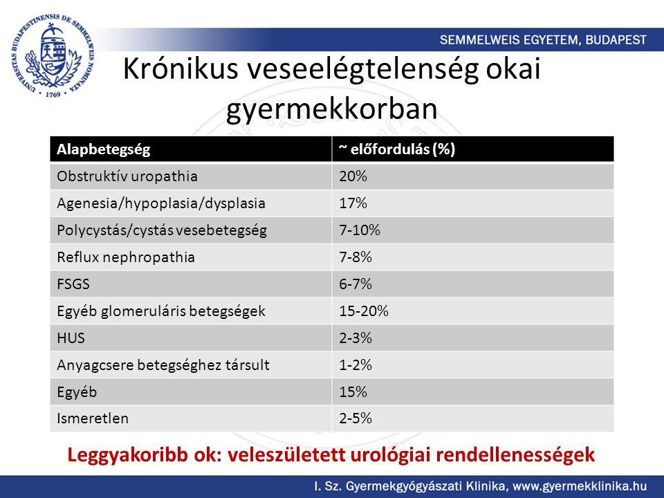 Krónikus veseelégtelenség okai gyermekkorban Alapbetegség~ előfordulás (%) Obstruktív uropathia20% Agenesia/hypoplasia/dysplasia17% Polycystás/cystás