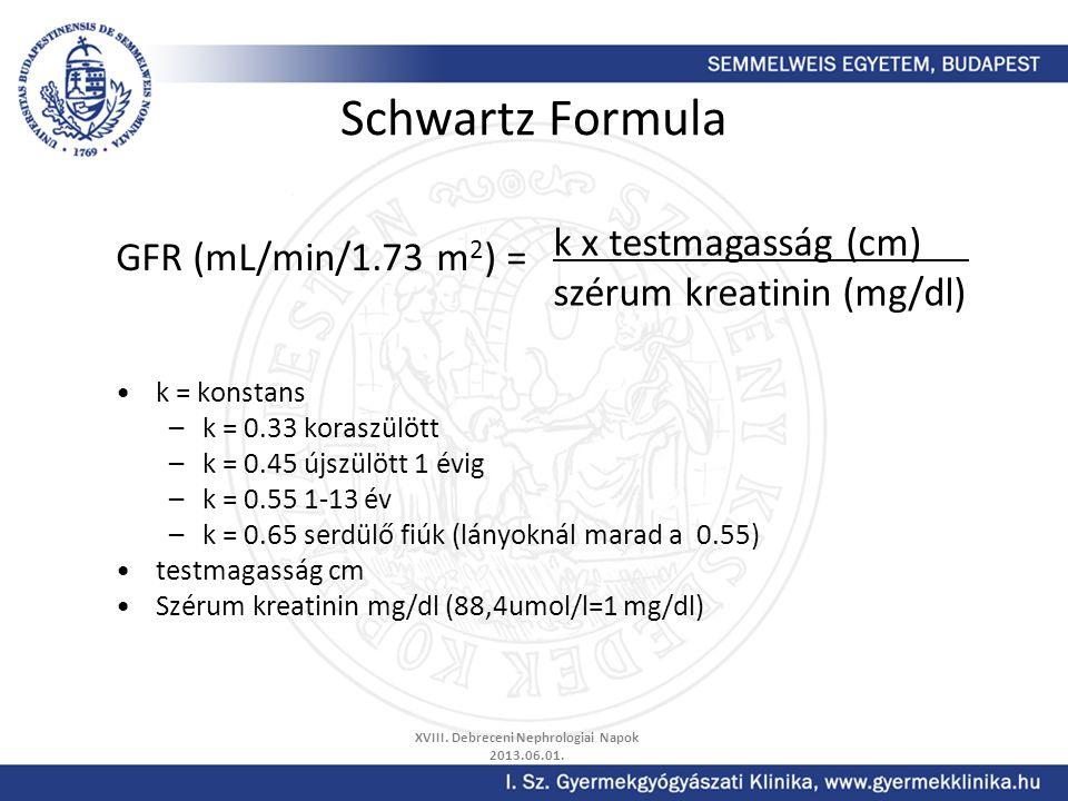 Schwartz Formula GFR (mL/min/1.73 m 2 ) = k = konstans –k = 0.33 koraszülött –k = 0.45 újszülött 1 évig –k = 0.55 1-13 év –k = 0.65 serdülő fiúk (lány