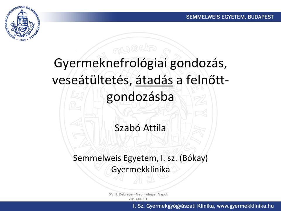 Gyermeknefrológiai gondozás, veseátültetés, átadás a felnőtt- gondozásba Szabó Attila Semmelweis Egyetem, I. sz. (Bókay) Gyermekklinika XVIII. Debrece