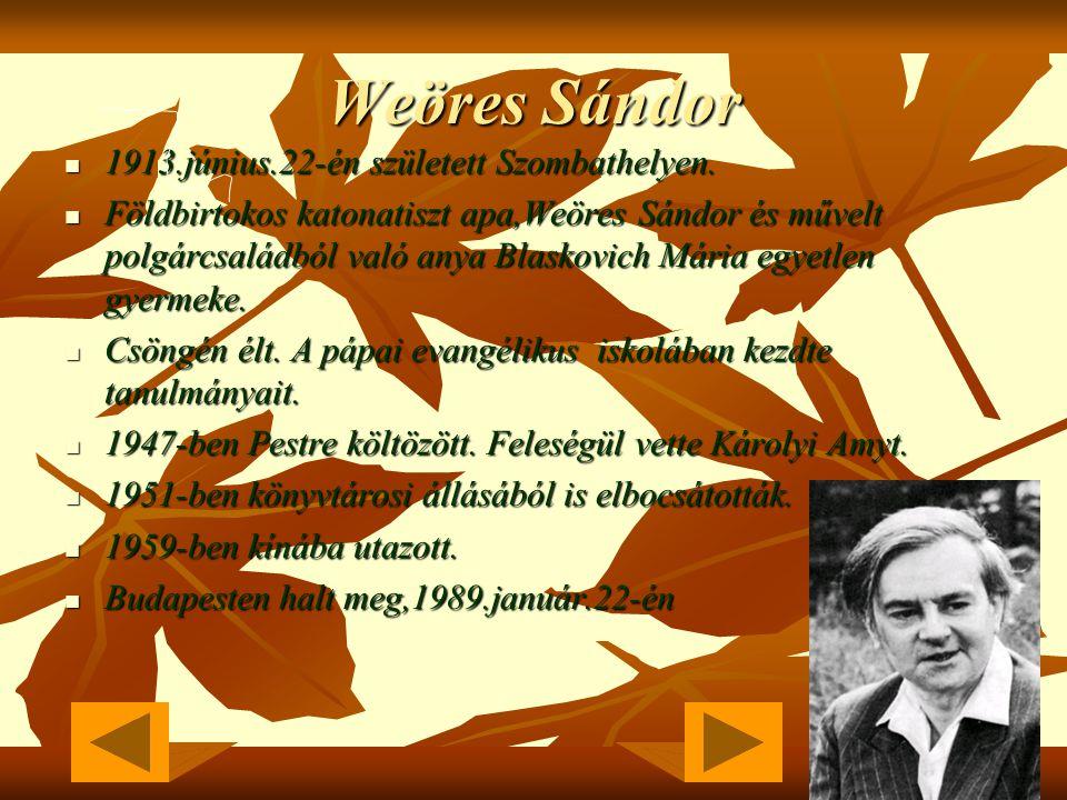 Weöres Sándor 1913.június.22-én született Szombathelyen.