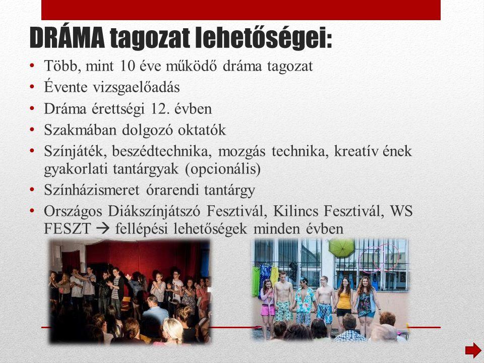 DRÁMA tagozat lehetőségei: Több, mint 10 éve működő dráma tagozat Évente vizsgaelőadás Dráma érettségi 12.