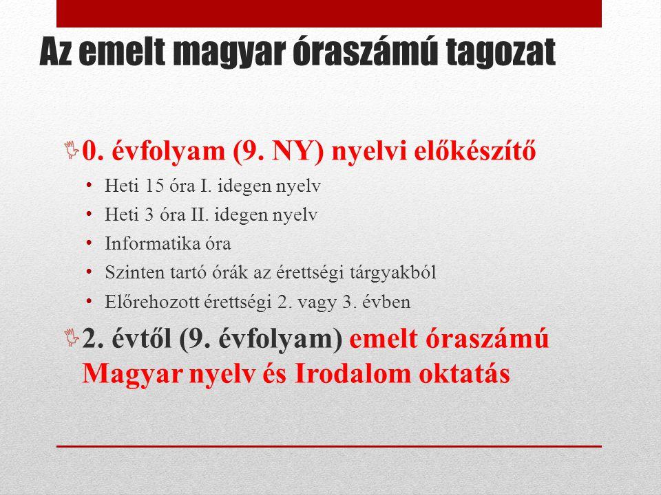 0.évfolyam (9. NY) nyelvi előkészítő Heti 15 óra I.