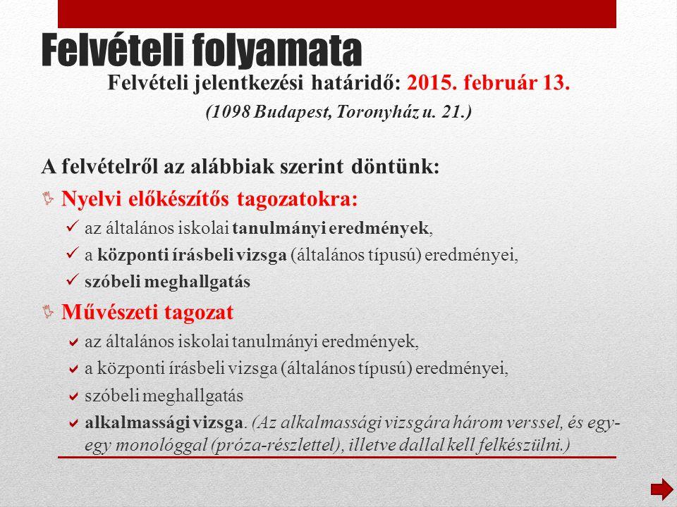 Fontos időpontok A központi írásbeli vizsga 2015.január 17-én 2014.