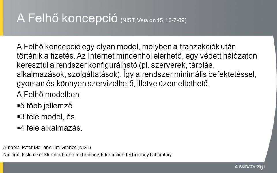 A Felhő koncepció (NIST, Version 15, 10-7-09) A Felhő koncepció egy olyan model, melyben a tranzakciók után történik a fizetés.
