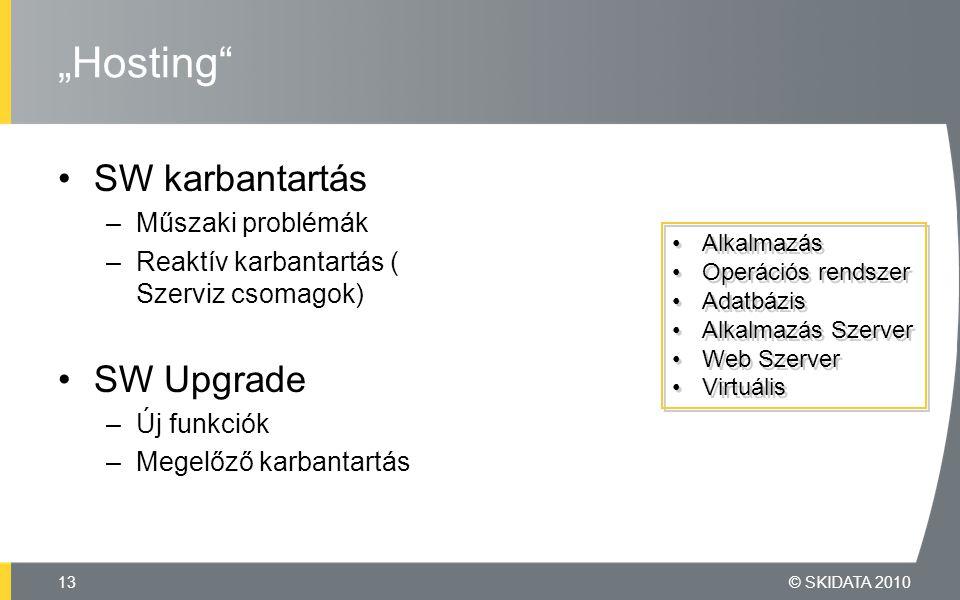 """SW karbantartás –Műszaki problémák –Reaktív karbantartás ( Szerviz csomagok) SW Upgrade –Új funkciók –Megelőző karbantartás """"Hosting © SKIDATA 201013 Alkalmazás Operációs rendszer Adatbázis Alkalmazás Szerver Web Szerver Virtuális Alkalmazás Operációs rendszer Adatbázis Alkalmazás Szerver Web Szerver Virtuális"""