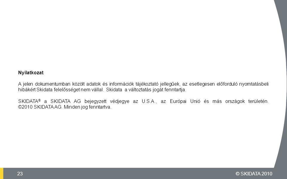 Nyilatkozat A jelen dokumentumban közölt adatok és információk tájékoztató jellegűek, az esetlegesen előforduló nyomtatásbeli hibákért Skidata felelősséget nem vállal.