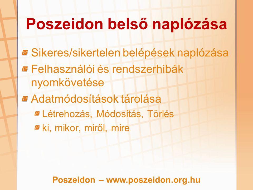 Poszeidon belső naplózása Sikeres/sikertelen belépések naplózása Felhasználói és rendszerhibák nyomkövetése Adatmódosítások tárolása Létrehozás, Módos