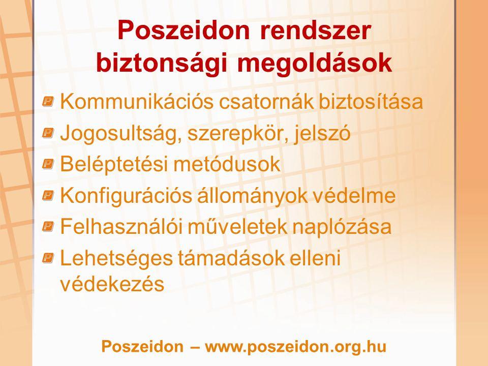 Poszeidon rendszer biztonsági megoldások Kommunikációs csatornák biztosítása Jogosultság, szerepkör, jelszó Beléptetési metódusok Konfigurációs állomá