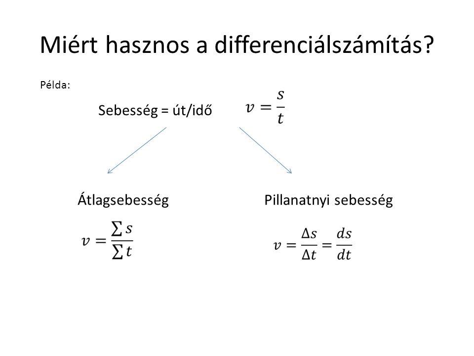 Miért hasznos a differenciálszámítás? ÁtlagsebességPillanatnyi sebesség Sebesség = út/idő Példa: