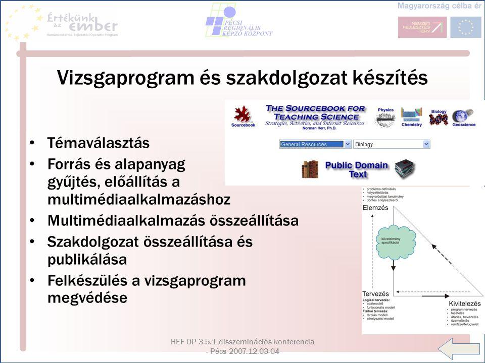 HEF OP 3.5.1 disszeminációs konferencia - Pécs 2007.12.03-04 Vizsgaprogram és szakdolgozat készítés Témaválasztás Forrás és alapanyag gyűjtés, előállí