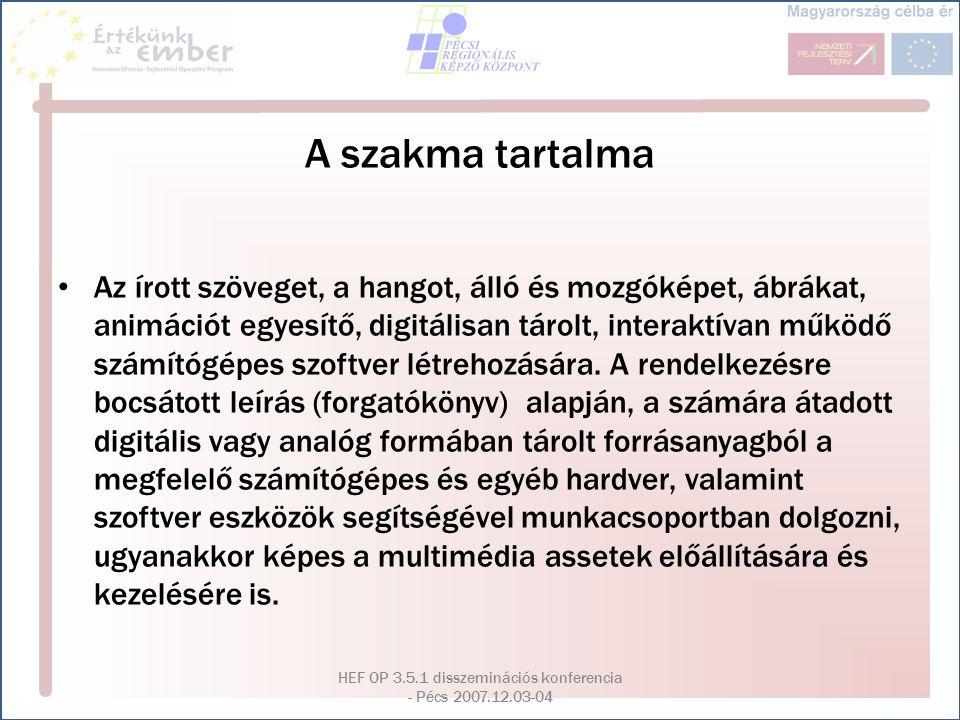 HEF OP 3.5.1 disszeminációs konferencia - Pécs 2007.12.03-04 A szakma tartalma Az írott szöveget, a hangot, álló és mozgóképet, ábrákat, animációt egy