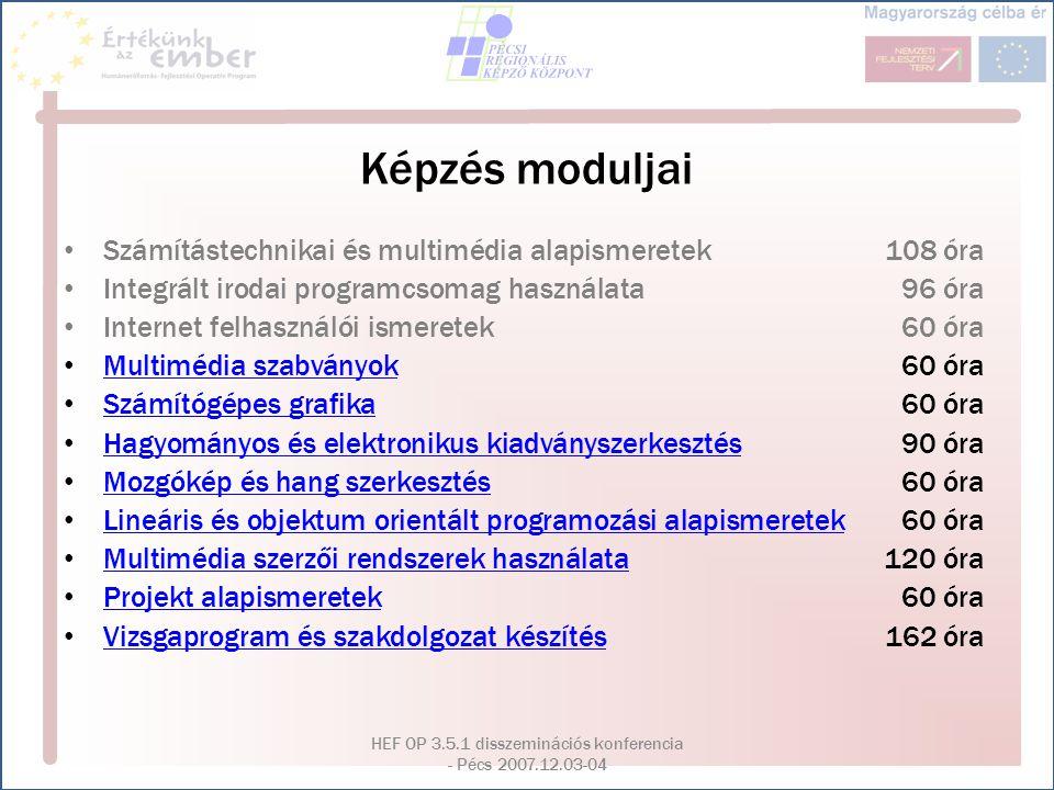 HEF OP 3.5.1 disszeminációs konferencia - Pécs 2007.12.03-04 Képzés moduljai Számítástechnikai és multimédia alapismeretek108 óra Integrált irodai pro