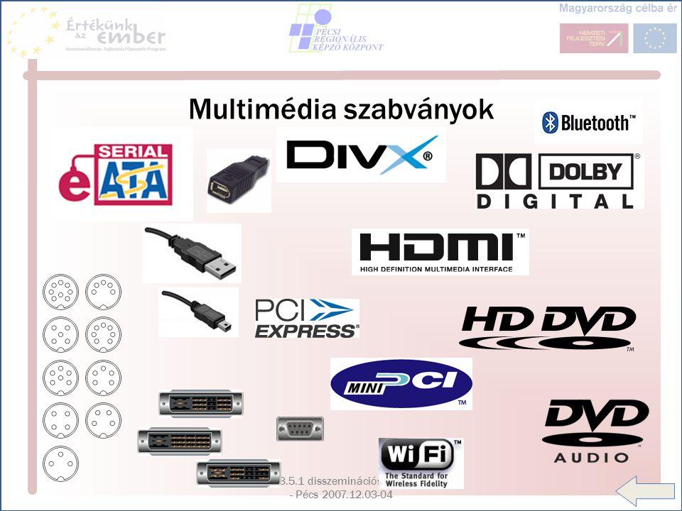 HEF OP 3.5.1 disszeminációs konferencia - Pécs 2007.12.03-04 Multimédia szabványok