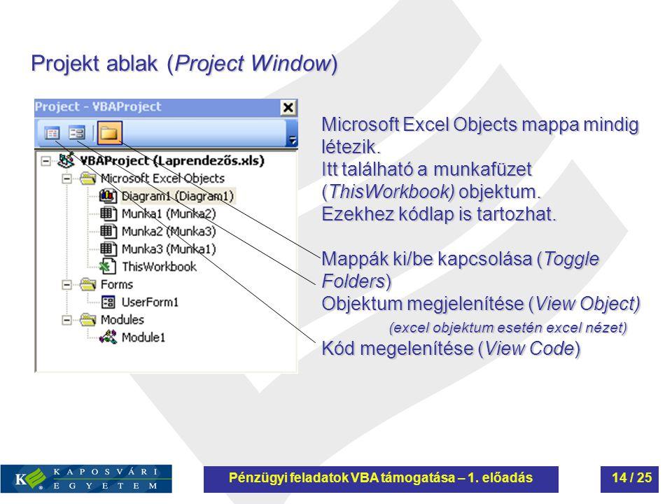 Projekt ablak (Project Window) Microsoft Excel Objects mappa mindig létezik. Itt található a munkafüzet (ThisWorkbook) objektum. Ezekhez kódlap is tar