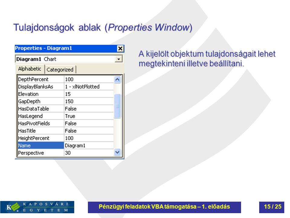 Tulajdonságok ablak (Properties Window) A kijelölt objektum tulajdonságait lehet megtekinteni illetve beállítani. Pénzügyi feladatok VBA támogatása –