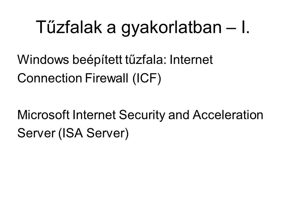 Tűzfalak a gyakorlatban – I. Windows beépített tűzfala: Internet Connection Firewall (ICF) Microsoft Internet Security and Acceleration Server (ISA Se