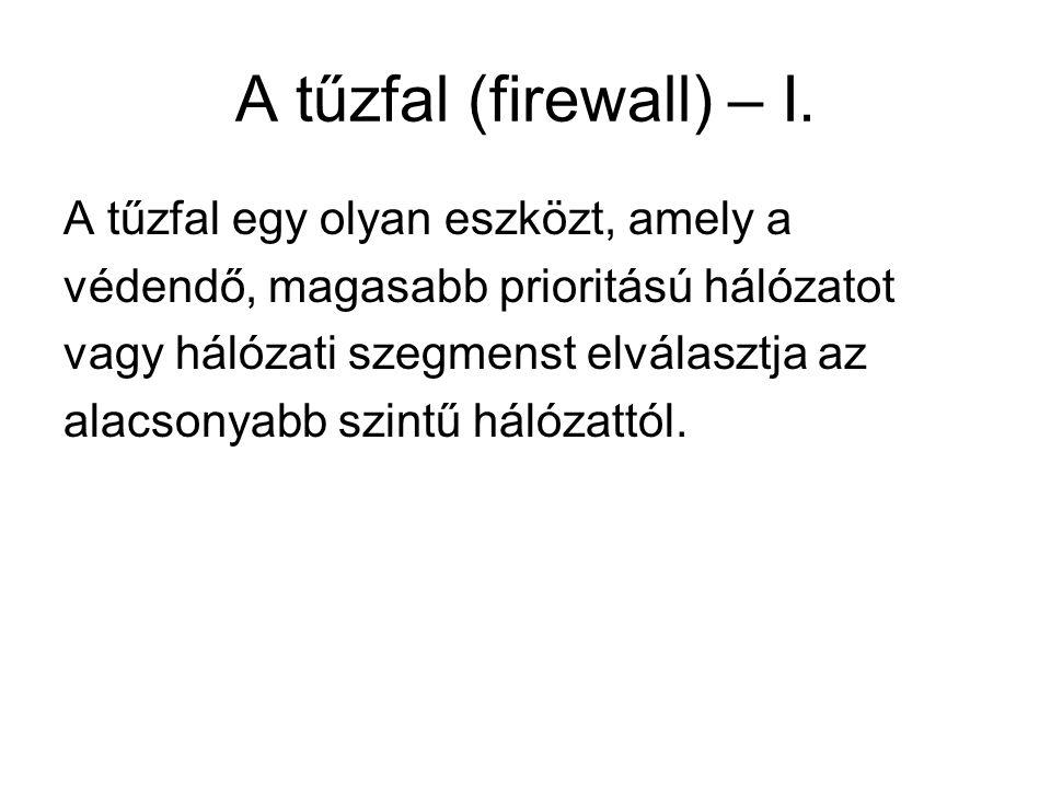 A tűzfal (firewall) – I. A tűzfal egy olyan eszközt, amely a védendő, magasabb prioritású hálózatot vagy hálózati szegmenst elválasztja az alacsonyabb