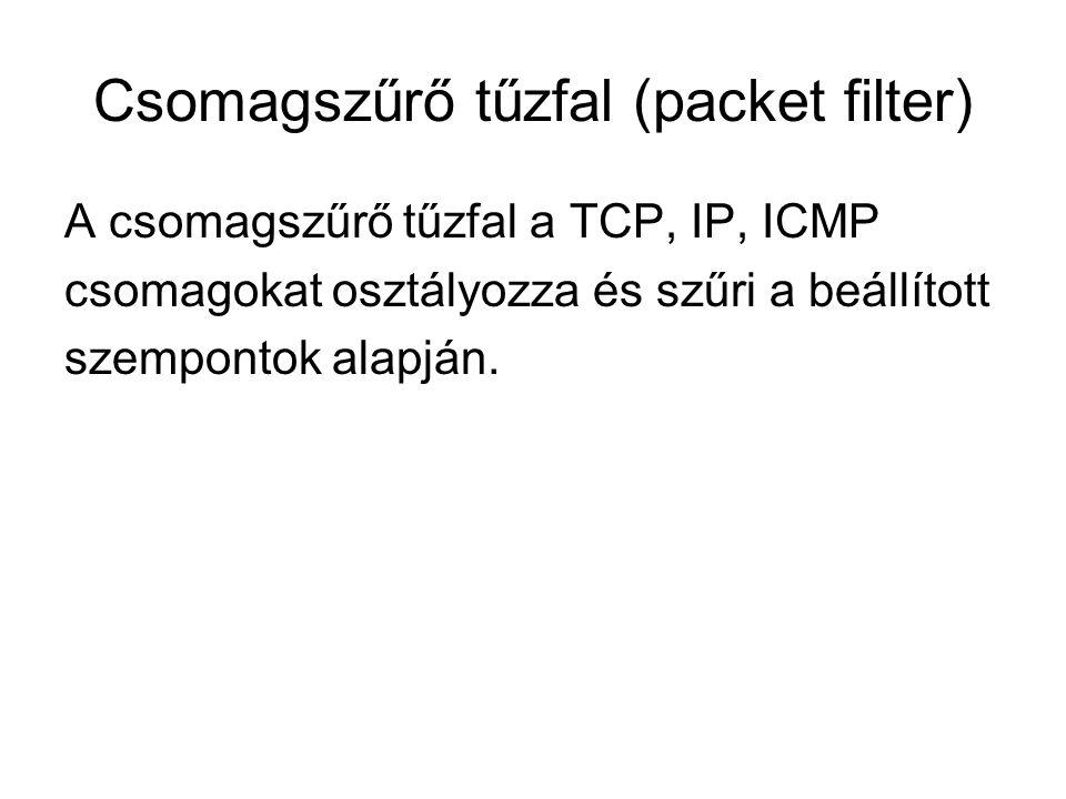 Csomagszűrő tűzfal (packet filter) A csomagszűrő tűzfal a TCP, IP, ICMP csomagokat osztályozza és szűri a beállított szempontok alapján.