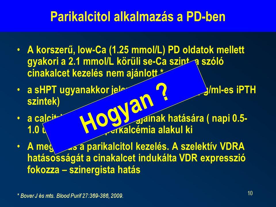 10 Parikalcitol alkalmazás a PD-ben A korszerű, low-Ca (1.25 mmol/L) PD oldatok mellett gyakori a 2.1 mmol/L körüli se-Ca szint, a szóló cinakalcet kezelés nem ajánlott * a sHPT ugyanakkor jelentős lehet (5-600 pg/ml-es iPTH szintek) a calcitriol szükséges adagjainak hatására ( napi 0.5- 1.0 ug ) gyorsan hiperkalcémia alakul ki A megoldás a parikalcitol kezelés.