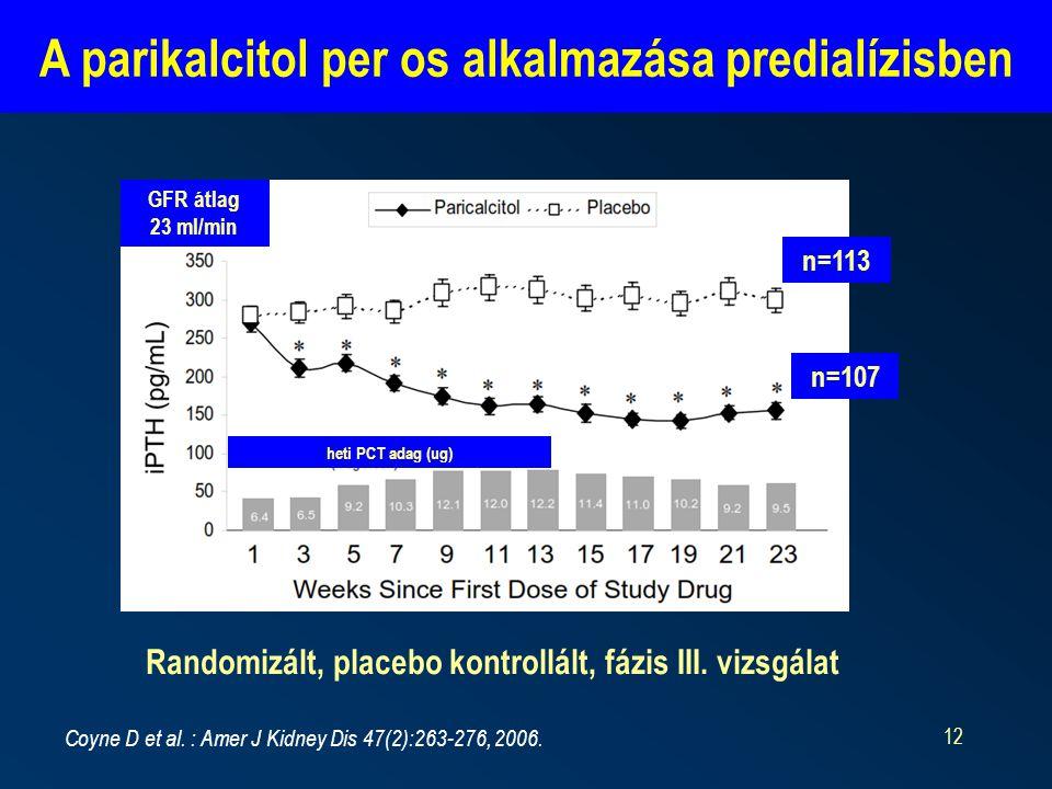 12 A parikalcitol per os alkalmazása predialízisben Coyne D et al.