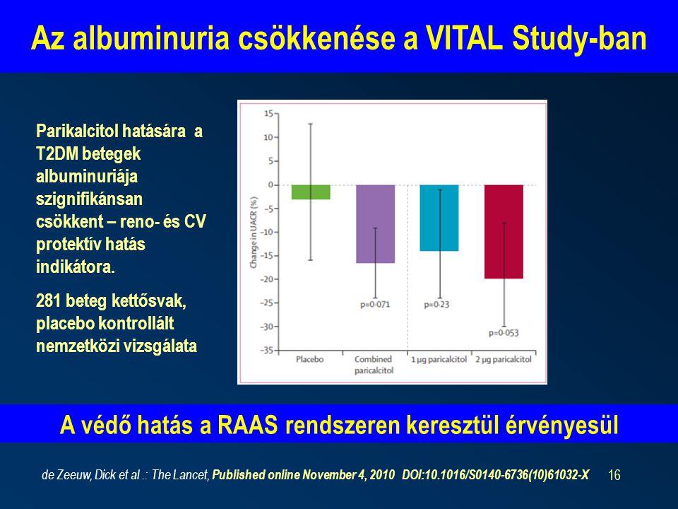 16 Az albuminuria csökkenése a VITAL Study-ban de Zeeuw, Dick et al.: The Lancet, Published online November 4, 2010 DOI:10.1016/S0140-6736(10)61032-X Parikalcitol hatására a T2DM betegek albuminuriája szignifikánsan csökkent – reno- és CV protektív hatás indikátora.