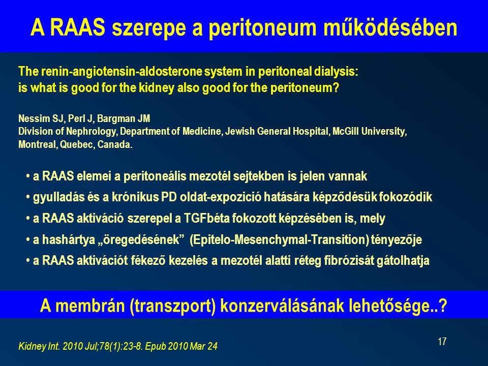 17 A RAAS szerepe a peritoneum működésében Kidney Int.