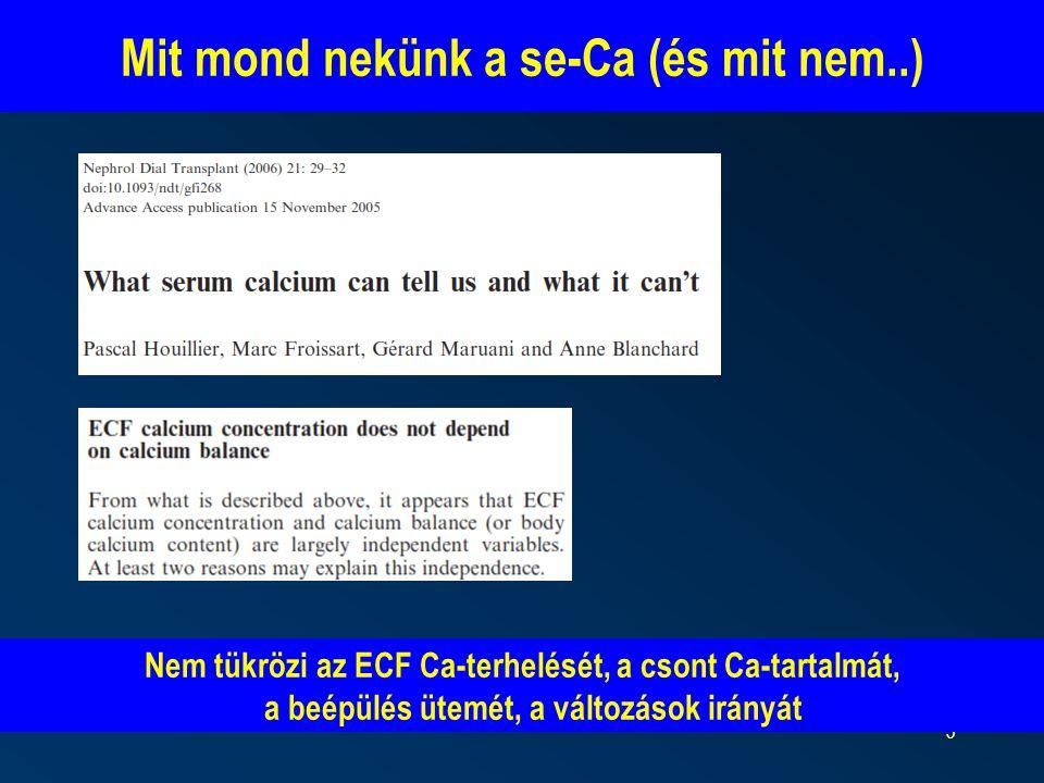 5 Nem tükrözi az ECF Ca-terhelését, a csont Ca-tartalmát, a beépülés ütemét, a változások irányát Mit mond nekünk a se-Ca (és mit nem..)