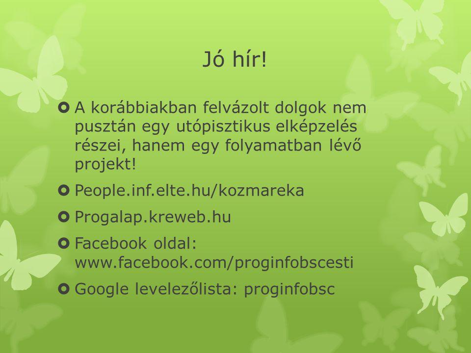 Jó hír!  A korábbiakban felvázolt dolgok nem pusztán egy utópisztikus elképzelés részei, hanem egy folyamatban lévő projekt!  People.inf.elte.hu/koz
