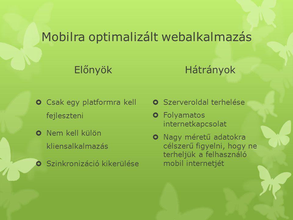 Mobilra optimalizált webalkalmazás Előnyök  Csak egy platformra kell fejleszteni  Nem kell külön kliensalkalmazás  Szinkronizáció kikerülése Hátrán