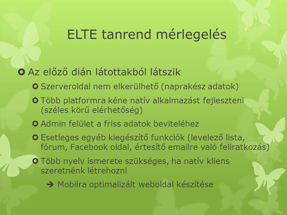 ELTE tanrend mérlegelés  Az előző dián látottakból látszik  Szerveroldal nem elkerülhető (naprakész adatok)  Több platformra kéne natív alkalmazást fejleszteni (széles körű elérhetőség)  Admin felület a friss adatok beviteléhez  Esetleges egyéb kiegészítő funkciók (levelező lista, fórum, Facebook oldal, értesítő emailre való feliratkozás)  Több nyelv ismerete szükséges, ha natív kliens szeretnénk létrehozni  Mobilra optimalizált weboldal készítése