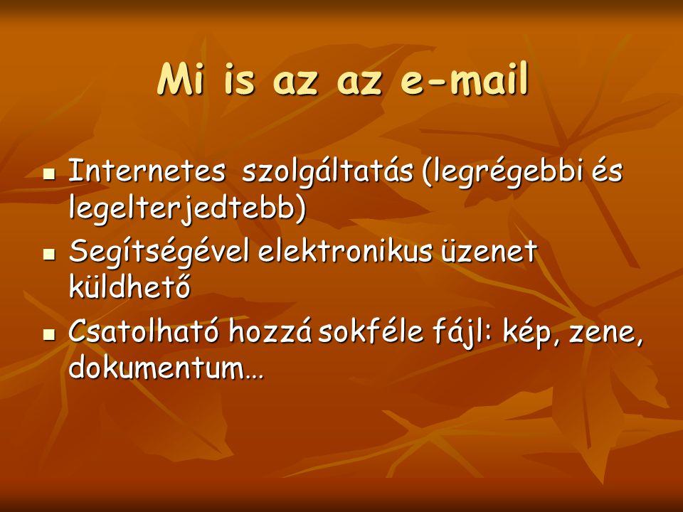 Mi is az az e-mail Internetes szolgáltatás (legrégebbi és legelterjedtebb) Internetes szolgáltatás (legrégebbi és legelterjedtebb) Segítségével elektronikus üzenet küldhető Segítségével elektronikus üzenet küldhető Csatolható hozzá sokféle fájl: kép, zene, dokumentum… Csatolható hozzá sokféle fájl: kép, zene, dokumentum…