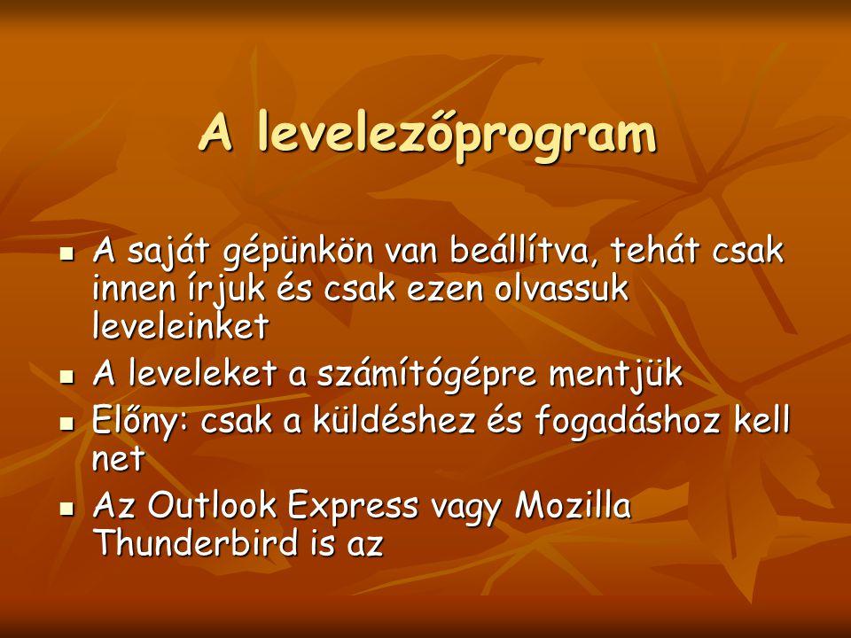 A levelezőprogram A saját gépünkön van beállítva, tehát csak innen írjuk és csak ezen olvassuk leveleinket A saját gépünkön van beállítva, tehát csak innen írjuk és csak ezen olvassuk leveleinket A leveleket a számítógépre mentjük A leveleket a számítógépre mentjük Előny: csak a küldéshez és fogadáshoz kell net Előny: csak a küldéshez és fogadáshoz kell net Az Outlook Express vagy Mozilla Thunderbird is az Az Outlook Express vagy Mozilla Thunderbird is az