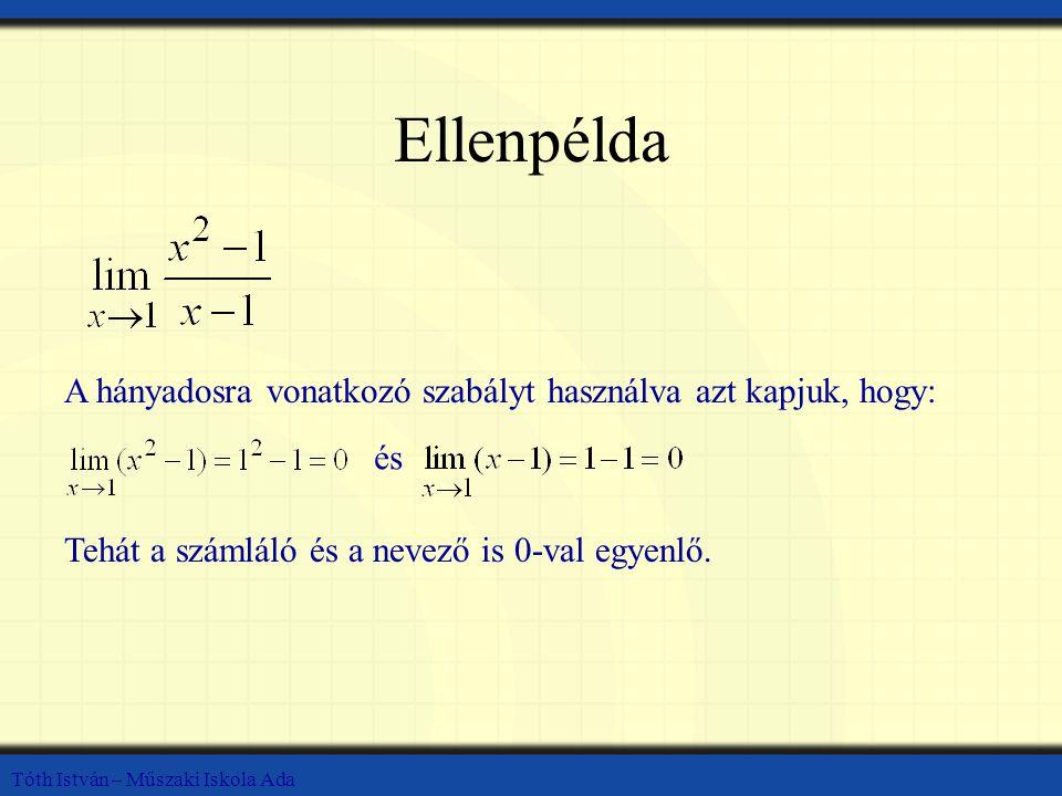 Tóth István – Műszaki Iskola Ada Ellenpélda A hányadosra vonatkozó szabályt használva azt kapjuk, hogy: és Tehát a számláló és a nevező is 0-val egyen