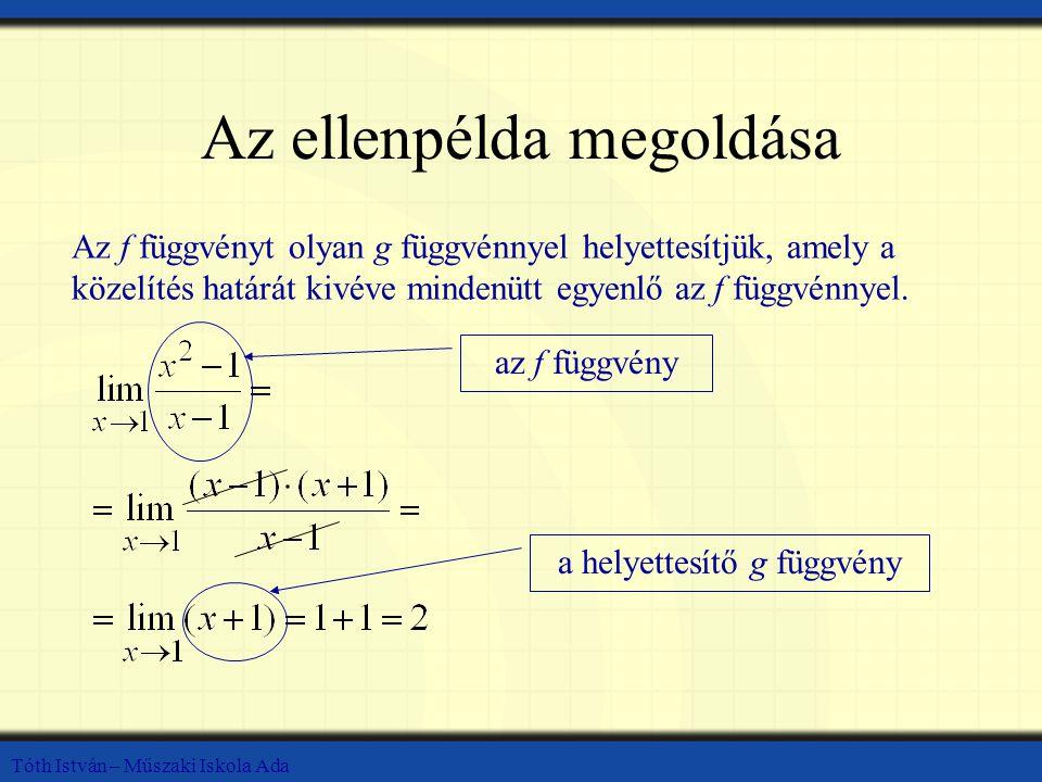 Tóth István – Műszaki Iskola Ada Az ellenpélda megoldása Az f függvényt olyan g függvénnyel helyettesítjük, amely a közelítés határát kivéve mindenütt