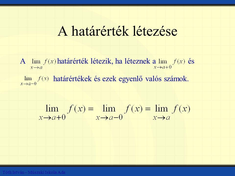Tóth István – Műszaki Iskola Ada A határérték létezése Ahatárérték létezik, ha léteznek aés határértékek és ezek egyenlő valós számok.