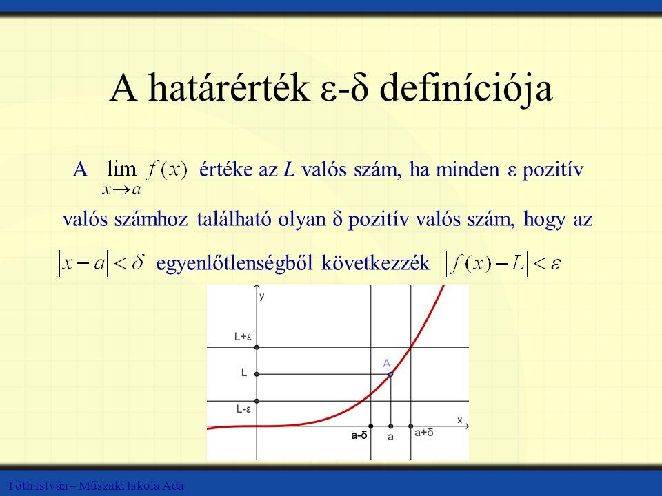 Tóth István – Műszaki Iskola Ada A határérték ε-δ definíciója Aértéke az L valós szám, ha minden ε pozitív valós számhoz található olyan δ pozitív val