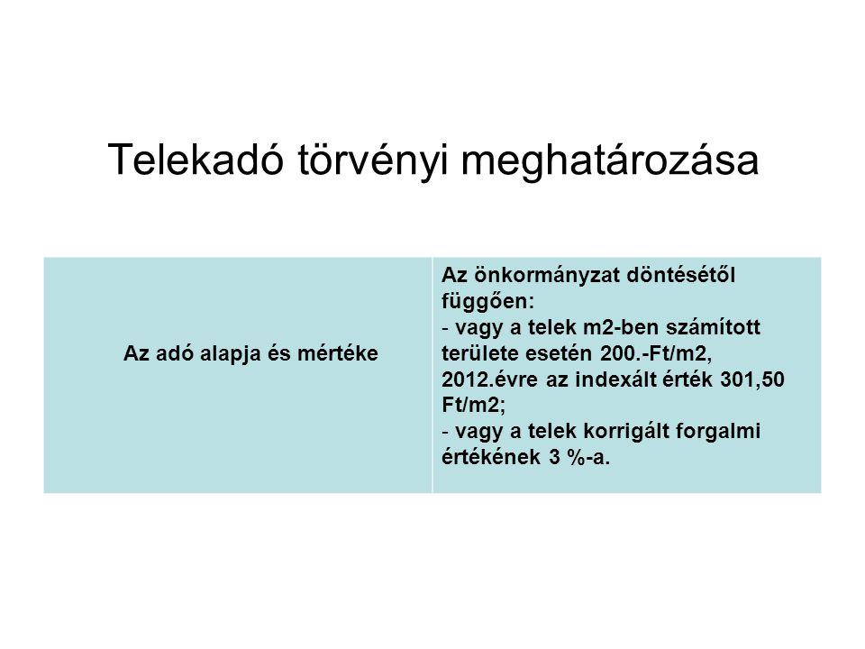 Telekadó törvényi meghatározása Az adó alapja és mértéke Az önkormányzat döntésétől függően: - vagy a telek m2-ben számított területe esetén 200.-Ft/m