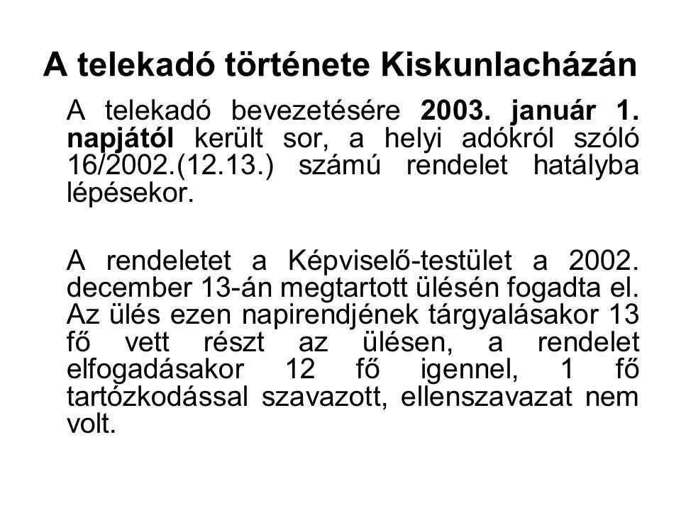 A telekadó története Kiskunlacházán A telekadó bevezetésére 2003. január 1. napjától került sor, a helyi adókról szóló 16/2002.(12.13.) számú rendelet