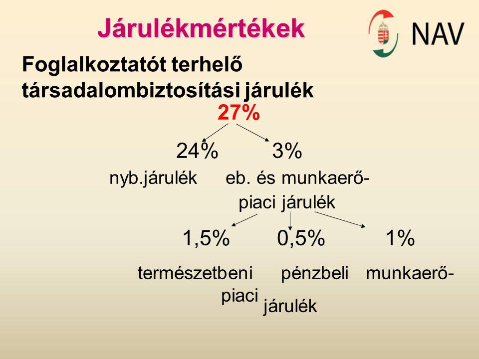 Járulékmértékek Foglalkoztatót terhelő társadalombiztosítási járulék 27% 24%3% nyb.járulék eb. és munkaerő- piaci járulék 1,5% 0,5% 1% természetbeni p