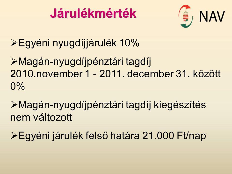 Járulékmérték  Egyéni nyugdíjjárulék 10%  Magán-nyugdíjpénztári tagdíj 2010.november 1 - 2011. december 31. között 0%  Magán-nyugdíjpénztári tagdíj