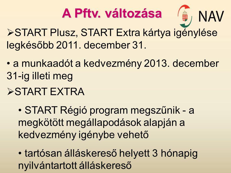 A Pftv. változása  START Plusz, START Extra kártya igénylése legkésőbb 2011. december 31. a munkaadót a kedvezmény 2013. december 31-ig illeti meg 