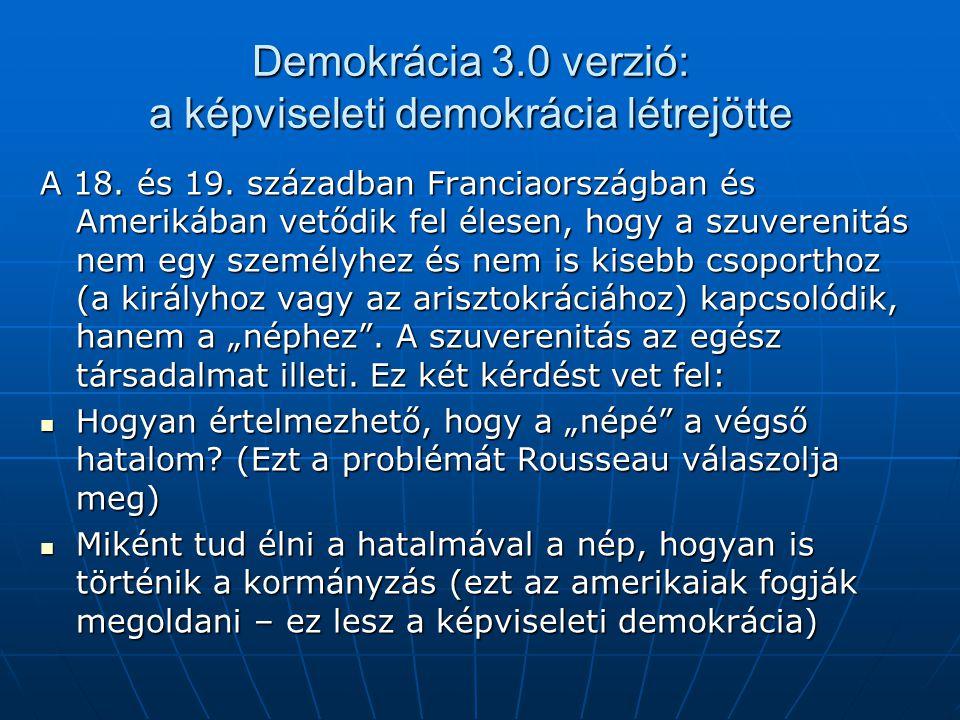 Demokrácia 3.0 verzió: a képviseleti demokrácia létrejötte A 18. és 19. században Franciaországban és Amerikában vetődik fel élesen, hogy a szuverenit