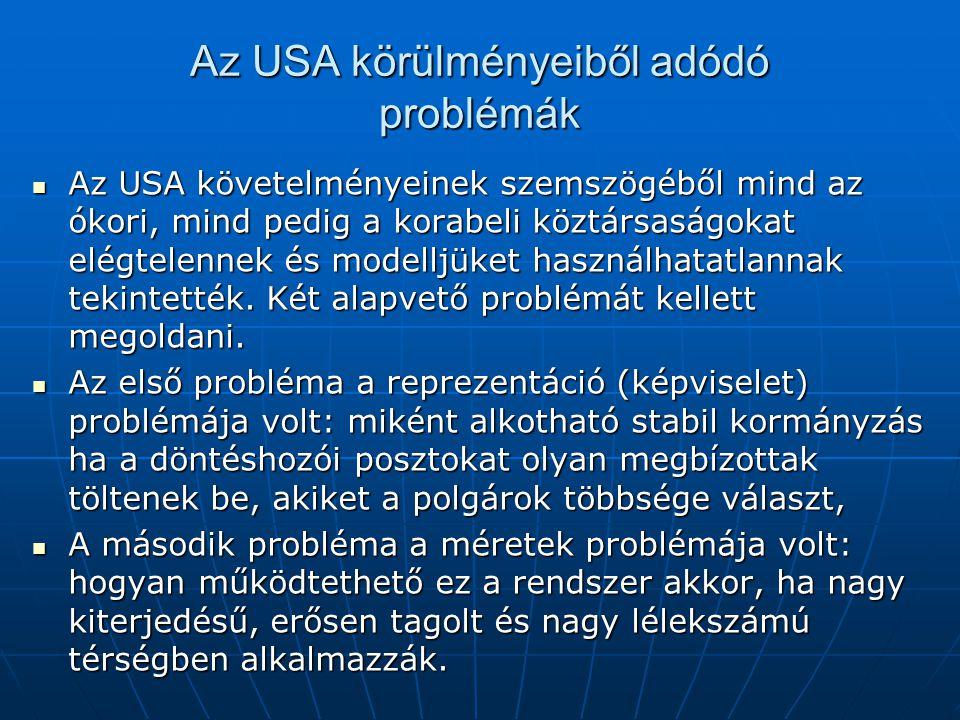 Az USA körülményeiből adódó problémák Az USA követelményeinek szemszögéből mind az ókori, mind pedig a korabeli köztársaságokat elégtelennek és modell