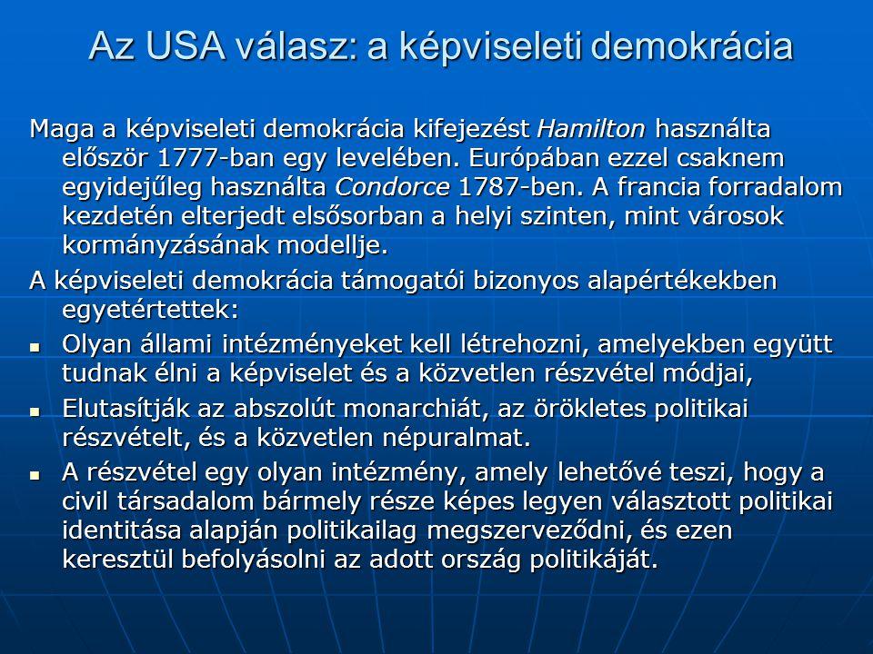 Az USA válasz: a képviseleti demokrácia Maga a képviseleti demokrácia kifejezést Hamilton használta először 1777-ban egy levelében. Európában ezzel cs
