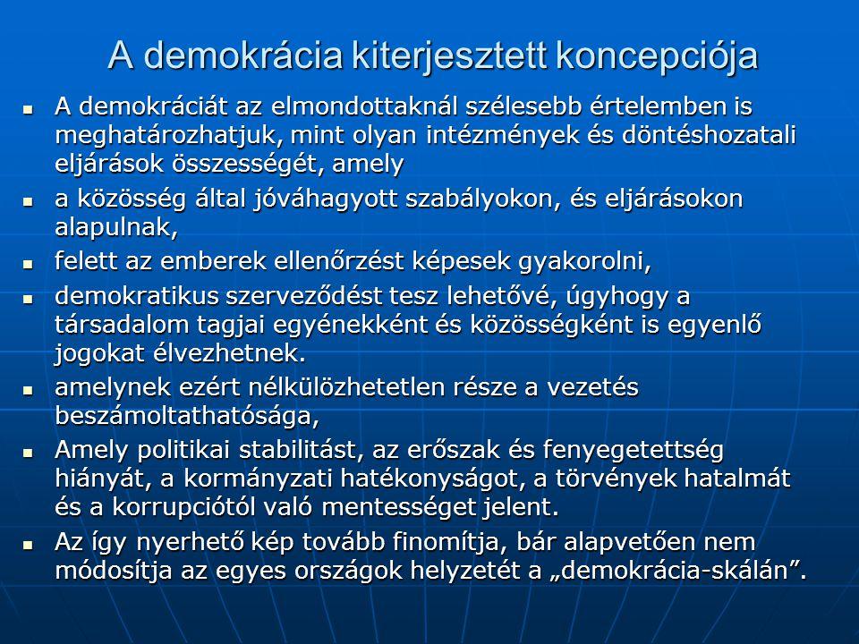 A demokrácia kiterjesztett koncepciója A demokráciát az elmondottaknál szélesebb értelemben is meghatározhatjuk, mint olyan intézmények és döntéshozat