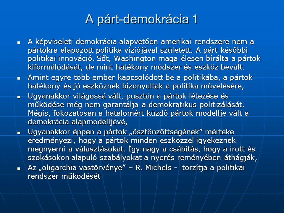 A párt-demokrácia 1 A képviseleti demokrácia alapvetően amerikai rendszere nem a pártokra alapozott politika víziójával született. A párt későbbi poli