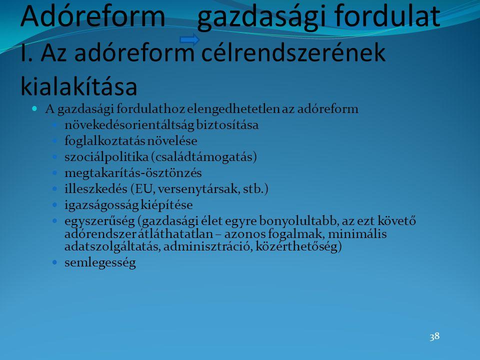 Adóreform gazdasági fordulat I. Az adóreform célrendszerének kialakítása A gazdasági fordulathoz elengedhetetlen az adóreform növekedésorientáltság bi