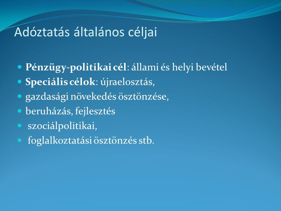 Adóztatás általános céljai Pénzügy-politikai cél: állami és helyi bevétel Speciális célok: újraelosztás, gazdasági növekedés ösztönzése, beruházás, fe