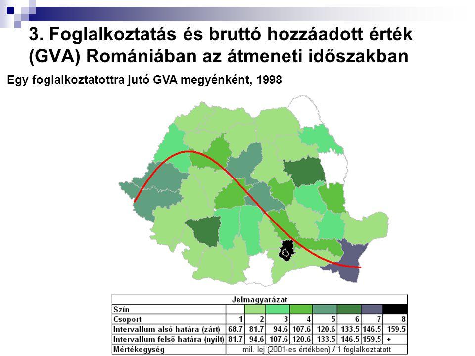 Egy foglalkoztatottra jutó GVA megyénként, 1998 3. Foglalkoztatás és bruttó hozzáadott érték (GVA) Romániában az átmeneti időszakban