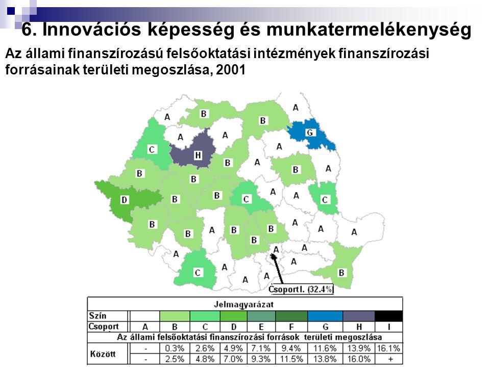 Az állami finanszírozású felsőoktatási intézmények finanszírozási forrásainak területi megoszlása, 2001 6. Innovációs képesség és munkatermelékenység